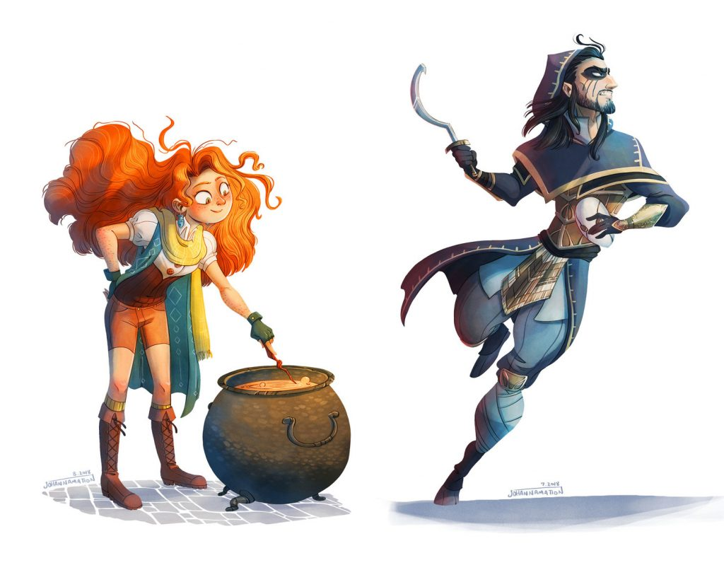 Two concept sketches by Johanna Taylor