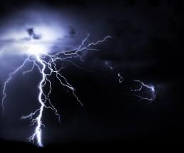 Lightning on a dark sky