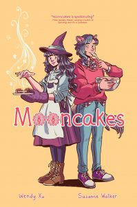 Cover of Mooncakes, featuring a cartoon witch baking and a wearwolf eating out of a bowl.